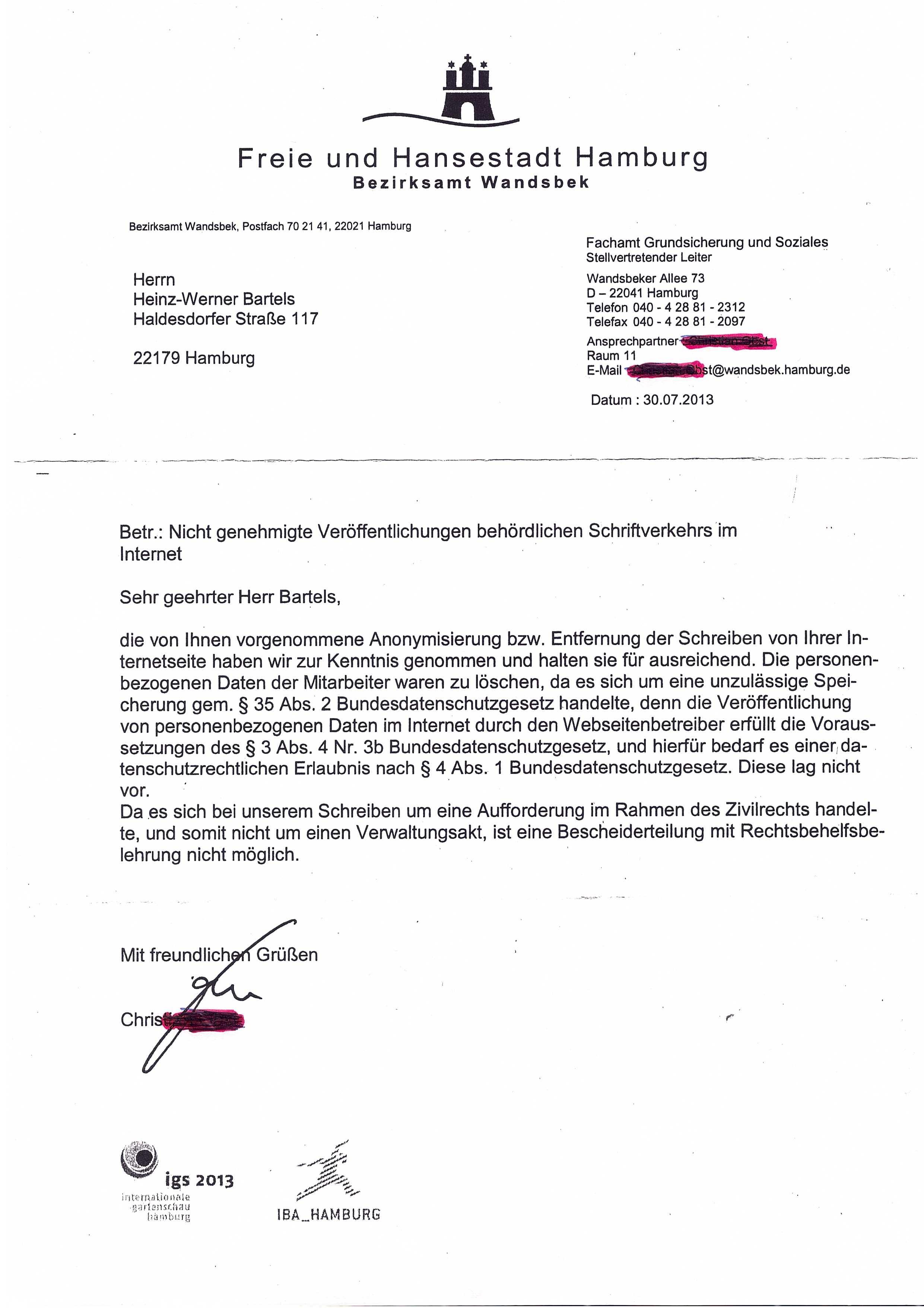 Korrekte Adressierung Briefe : Sozialbehördehamburg